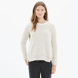 madewell texturemix pullover sweater in flax